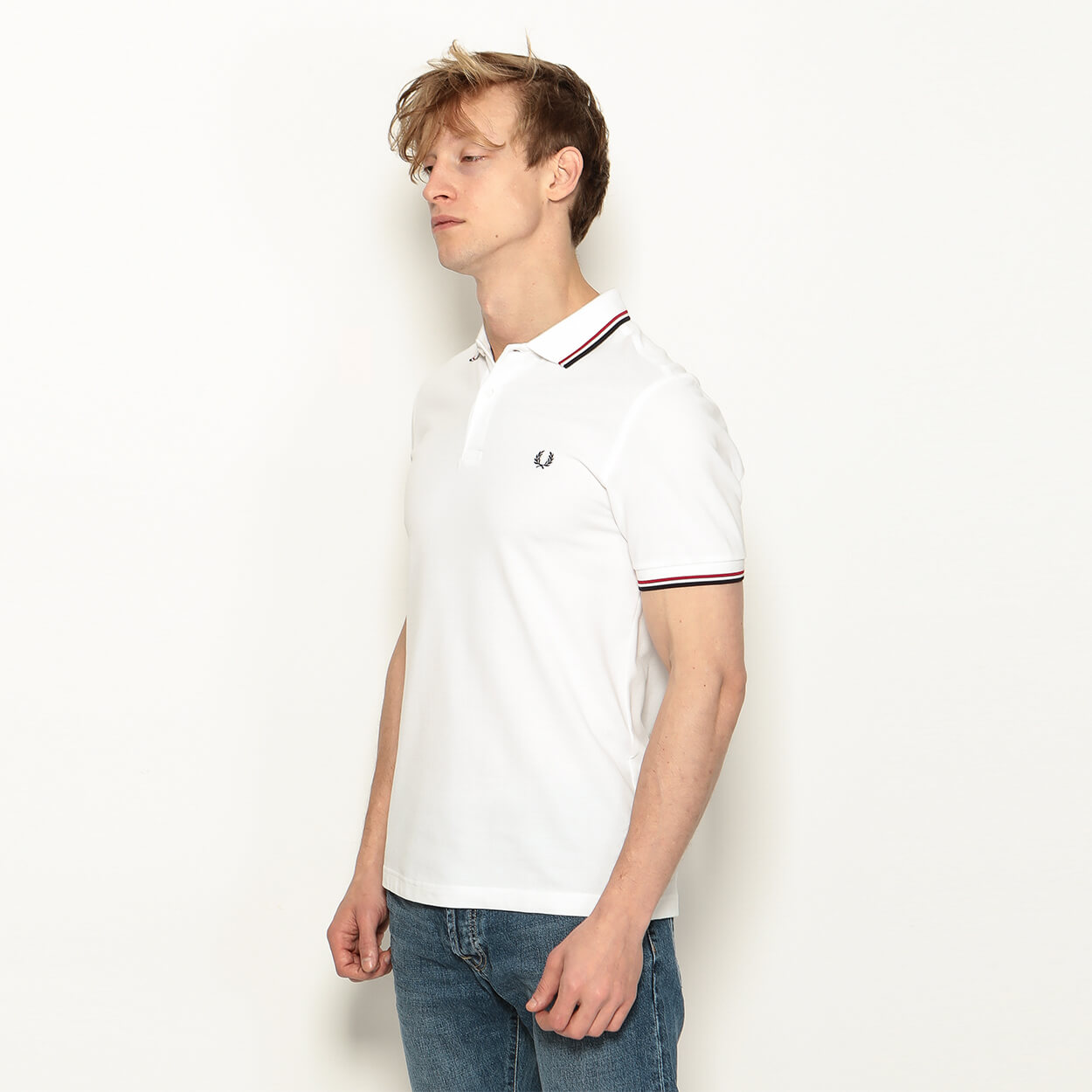 Мужское поло Fred Perry Twin Tipped (White)
