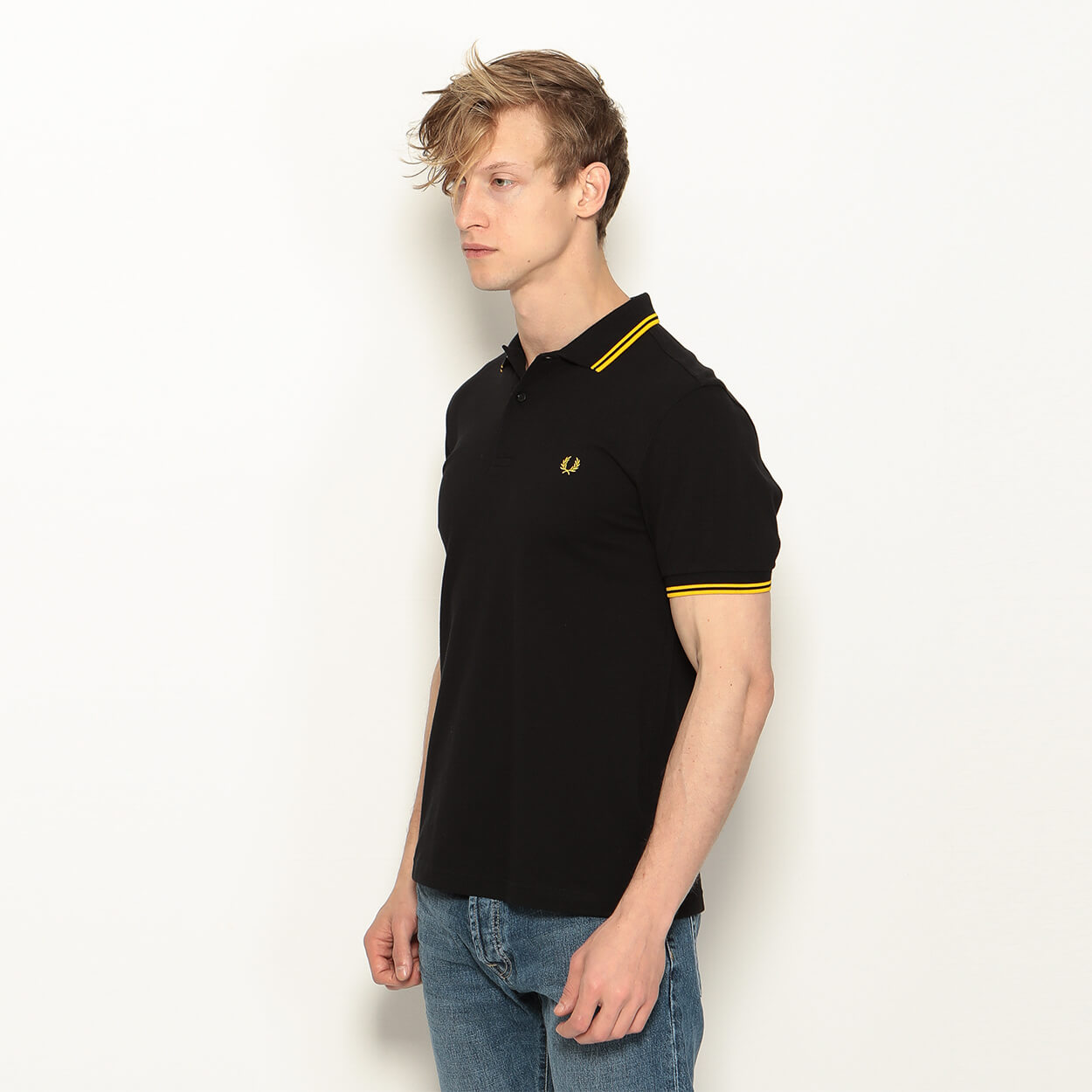 Мужское поло Fred Perry Twin Tipped (Black - Yellow)