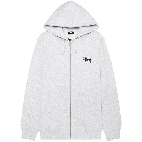 Мужская толстовка Stussy Basic Zip Hood (Ash Heather)