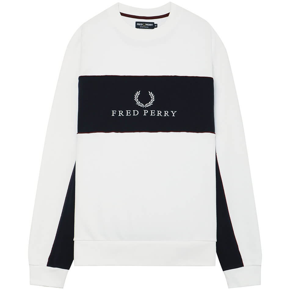 Мужская толстовка Fred Perry Tonal Piped  (White)