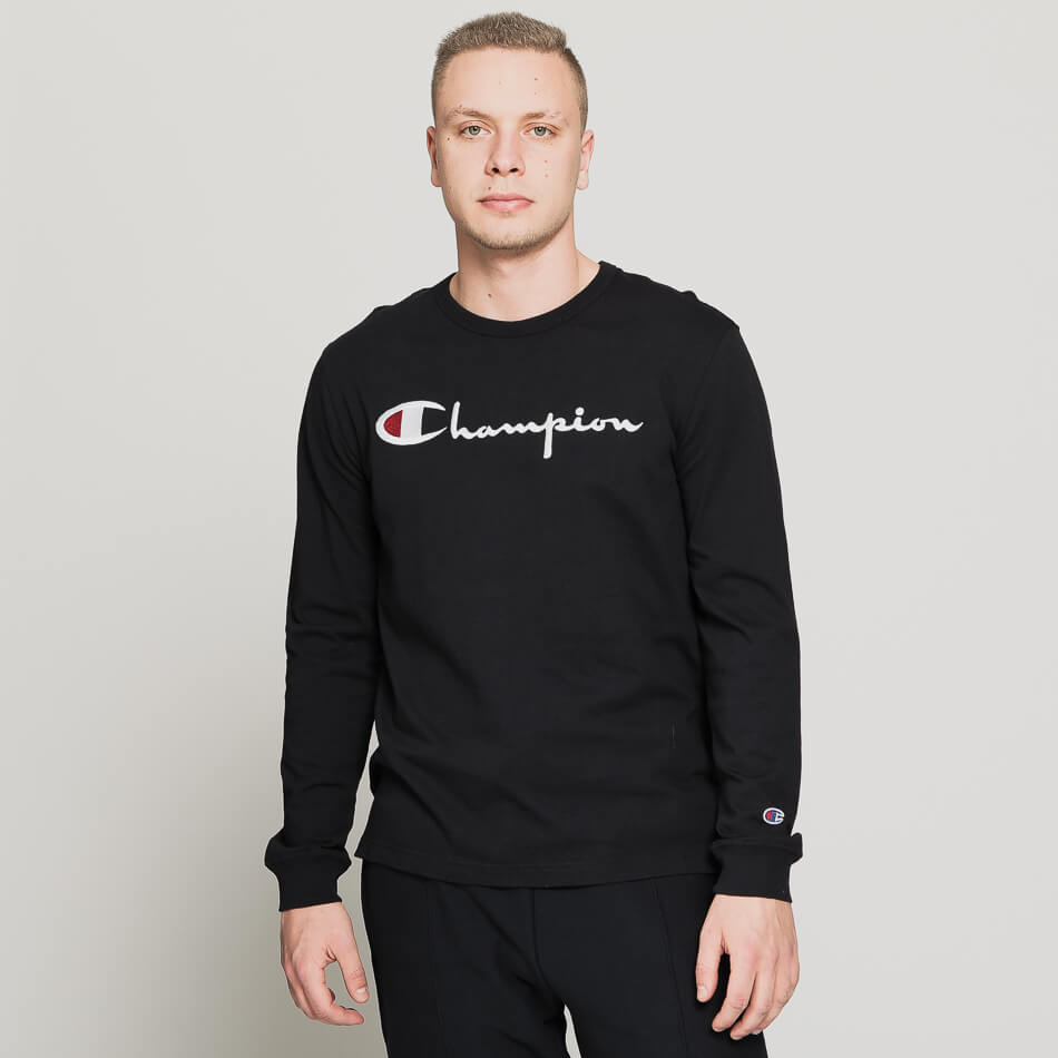 Мужской лонгслив Champion Reverse Weave Big Script Crew Neck (Dark Navy)