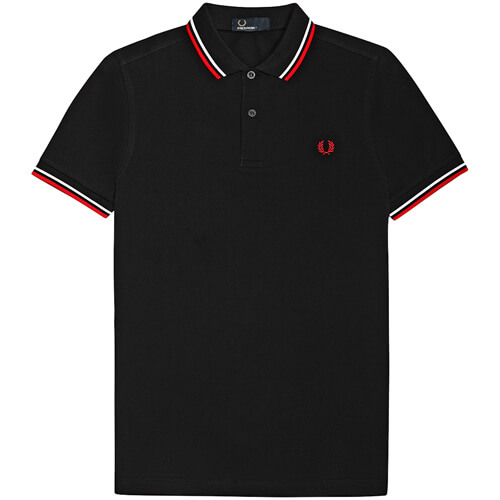 Мужское поло Fred Perry Twin Tipped (Navy-Red)
