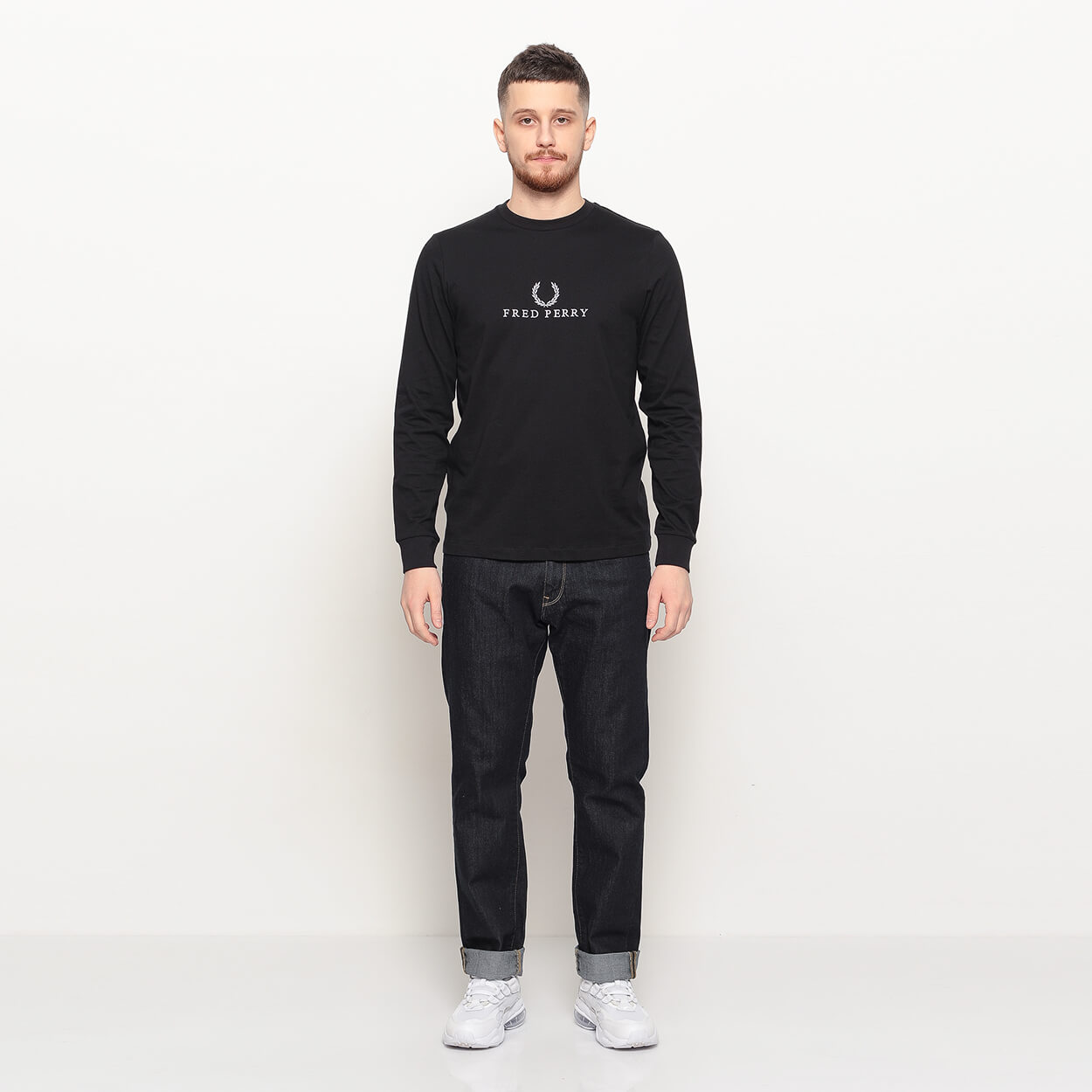 Мужской лонгслив Fred Perry Embroidered (Black)