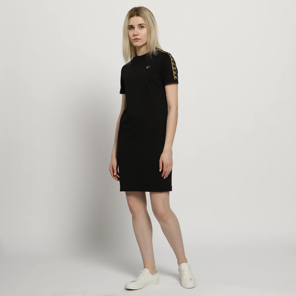Женское платье Fred Perry Taped Ringer (Black - Gold)