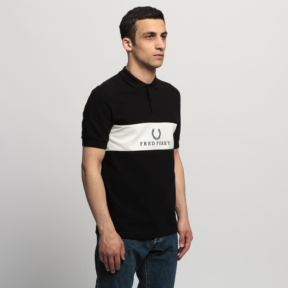 Мужское поло Fred Perry Panel Piped (Black)