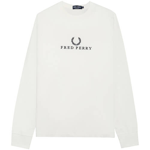 Мужской лонгслив Fred Perry Embroidered (White)