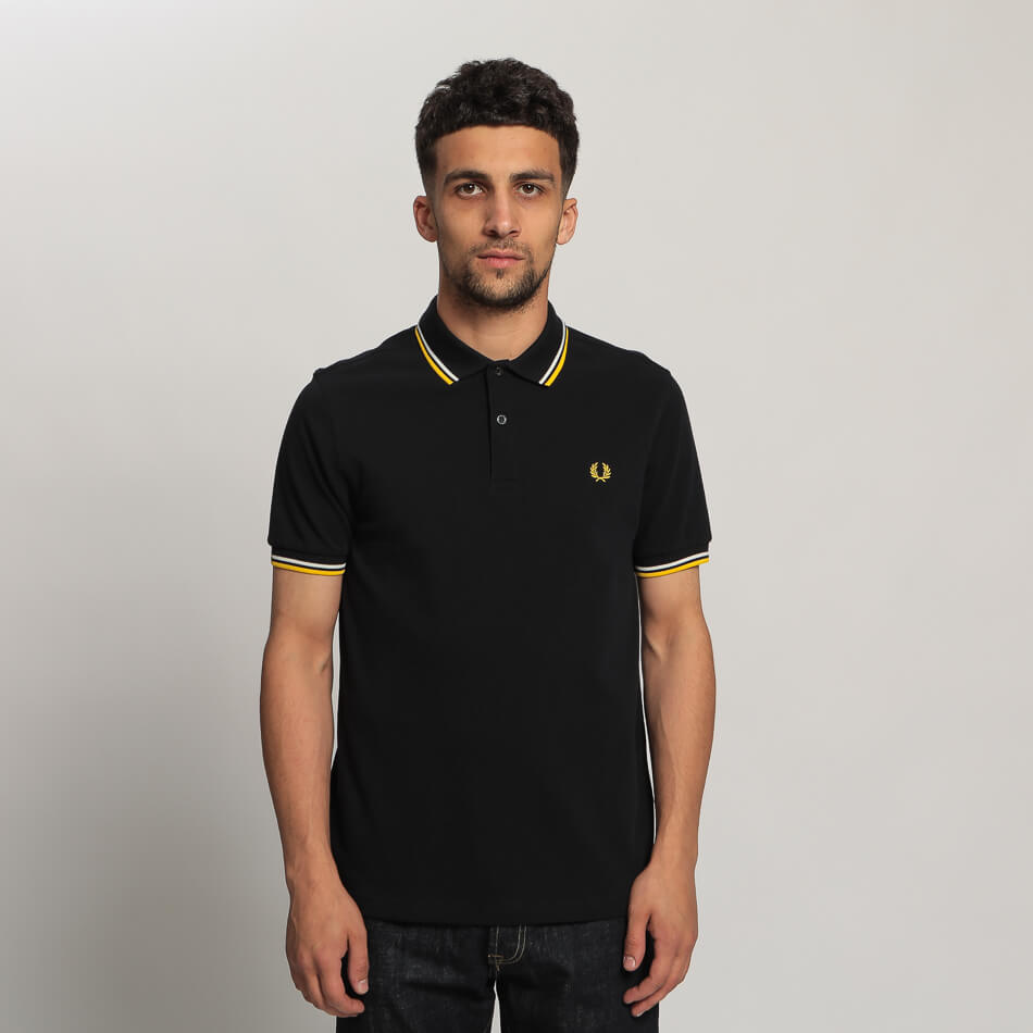 Мужское поло Fred Perry Twin Tipped (Navy - Yellow)