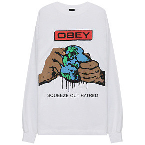 Мужской лонгслив OBEY Squeeze Out Hatred (White)