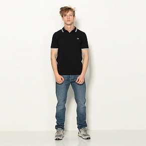 Мужское поло Fred Perry Twin Tipped (Navy)