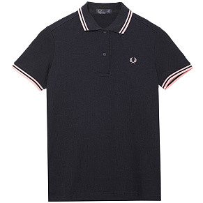 Женское поло Fred Perry Twin Tipped (Navy - Pink)