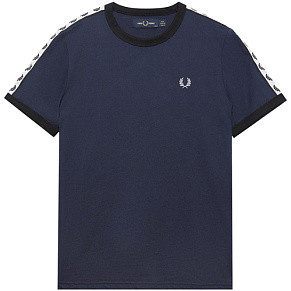 Женская футболка Fred Perry Taped Ringer (Dark Carbon)