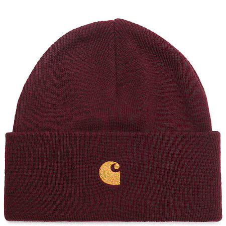 Шапка Carhartt WIP Chase Beanie (Bordeaux - Gold)