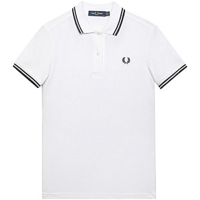 Женское поло Fred Perry Twin Tipped (White)